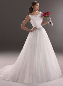 White Boat Neck Beading Empire Tulle Bridal Wedding Dress (SCL-WD047)