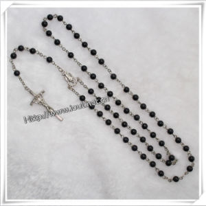 Catholic Cross Stone Bead Rosary Necklace with Crucifix (IO-cr085) pictures & photos