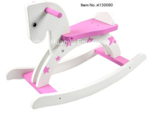 High Quality Wooden Rocking Horse-White Horse Rocker with Pink Star pictures & photos