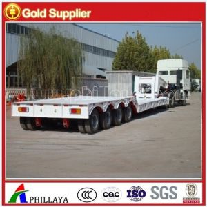 3axles Gooseneck Detachable Lowbed Front Loading Hydraulic Truck Semi Trailer pictures & photos