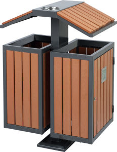 Hot Selling Outdoor Dustbin with Wood and Iron (HW-81) pictures & photos
