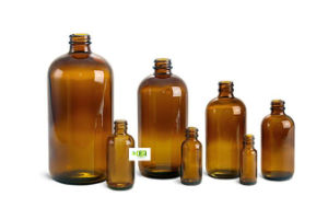 Amber Glass Bottles Only (Bulk) with Hard Plastic Cap/Glass Dropper