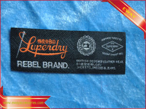 High Density Fabric Label Clothing Satin Woven Label pictures & photos