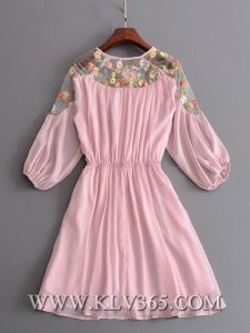 Latest Fashion Lady Clothing Summer Pink Half Sleeve Sweet Party Dress pictures & photos
