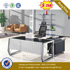 Glass Table Top Metal Structure Modern Office Desk (HX-GL015) pictures & photos