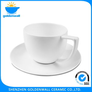Portable White Ceramic Coffee Cup with Saucer pictures & photos