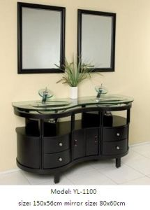 Solid Wood Bathroom Cabinet with Glass Basin Mirror pictures & photos