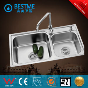 Sanitary Ware Double Sink Steel Kitchen Sink (BS-8002) pictures & photos