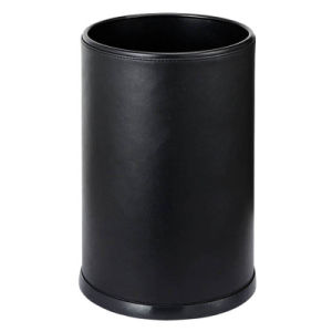 Round Shape Hotel Room Waste Bin with Black Leatherette pictures & photos