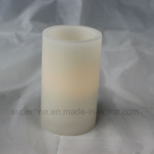 Plain Top Battery Operated Amber Color Flickering Wax Flameless Pillar LED Candle pictures & photos