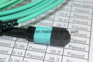 100% 3D Test MTP/MPO to 8 X LC 40gbe Om3/Om4 Plenum Fan-out / Breakout Cable pictures & photos