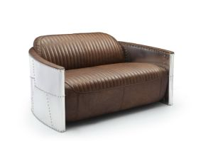 Vintage Tom in Aluminum Armrest Brown Vintage Leather Sofa chair pictures & photos