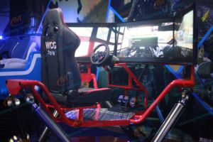 Exciting 3 Screens Racing Car Machine with 6 Dof Dynamic Platform Supplier pictures & photos