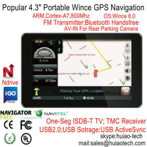 "Cheap 4.3""Portable Sat Nav Navigation Device Car Moto Truck GPS Navigator with ISDB-T TV Bluetooth AV-in for Rear View Parking Camera, Speed Camera pictures & photos"