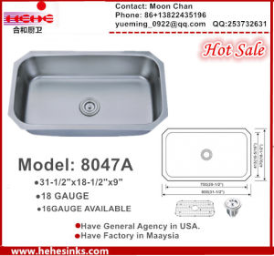 Single Bowl Stainless Steel Undmount Kitchen Sink, Large Sink 8047A pictures & photos