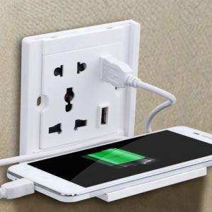 Wall Power Outlet Socket Supply with 2 Ports USB Charger Mobile Phone Charging Stand pictures & photos