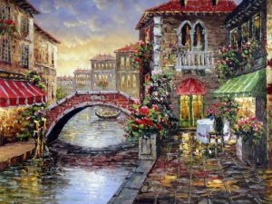 Custom Printed Type Beautiful Europe Village Scenery at Night Time Canvas Print Model No.: Hx-4-025 pictures & photos
