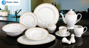 49PCS Round Shape Dinnerware Set with Gold Design, White Set Porcelain pictures & photos
