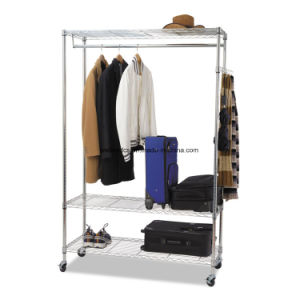 Home Bedroom Adjustable Metal Wardrobe Rack 3 Shelves pictures & photos