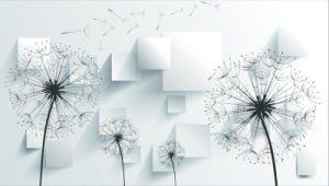 3D Black and White Dandelion Oil Painting for Home Decoration pictures & photos