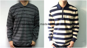 Men Cotton Long Sleeves Stripe Polo Shirt pictures & photos