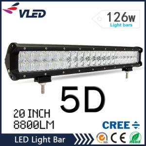 5D Straight 126W 20 Inch LED Light Bar Offroad Driving Lamp Spot Flood Combo Beam pictures & photos