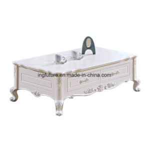 European Luxurious Wooden Carved Marble Coffee Table with 4 Drawers pictures & photos