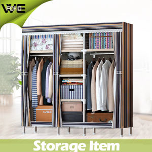 Cheap 170 X 46 X 175cm 3 Doors Fabric Furniture Cloth Wardrobe pictures & photos