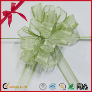 Organza POM POM Pull Bow with Green Color pictures & photos