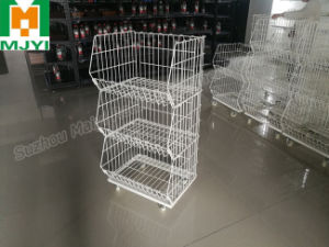 Mobile Zinc Mesh Stacking Display Basket pictures & photos