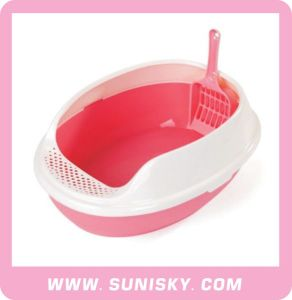 Cat Litter Pan with Scoop Plastic Cat Toilet pictures & photos