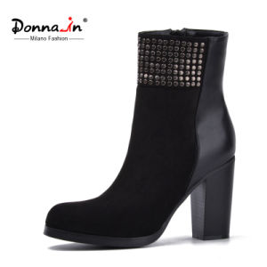 2017 Lady Casual Studs Shoes Patchwork High Heels Women Boots