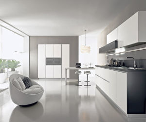 Liner Style White Modern Lacquer Kitchen Cabinet