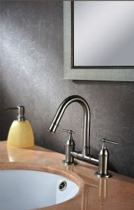 Double Handle Bathroom Basin Water Tap Made of Stainless Steel pictures & photos