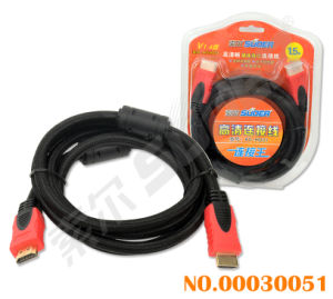 Suoer 1.5m Double Loop HDMI to HDMI Cable Golden Connector HDMI Line (AV-HD01-1.5m-Gold-Braided-Double Loop) pictures & photos