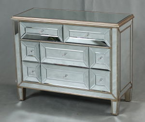 New Modern Bedroom Furniture Curved Mirrored Chest pictures & photos