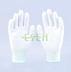 Polyester Knit Glove Palm Fit White PU Gloves Coated Safety Work Glove pictures & photos