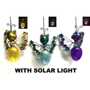Solar Lighted Metal Wall Art W. Stained Glass Garden Decoration pictures & photos