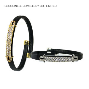 Silvering Silver Customerized Leather Fashion Jewelry Bracelet (BT6768) pictures & photos