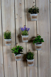 Different Artificial Plants as Hanging Decorations with Paper Mache Pot