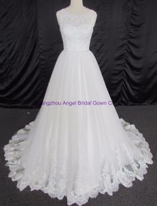 Empire Cap Sleeve Lace Bridal Gown pictures & photos