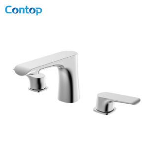 Quality Brass Body Double Handle 3-Hole Intallation Basin Faucet pictures & photos