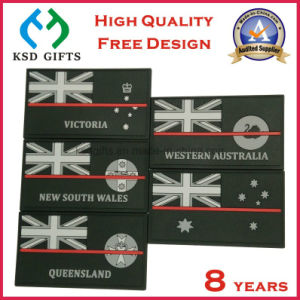 Top Quality Custom Flag Rubber PVC Patches with Hook & Loop on Backside pictures & photos