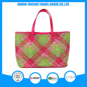 2016 New Fashion Knit PU Square Printed Tote Bag Beach Bag pictures & photos