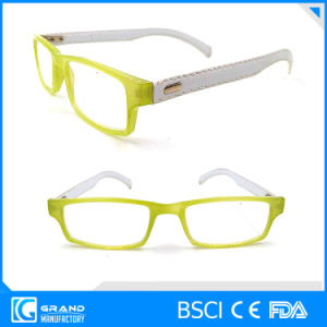 High Quality Plastic Reading Glasses with Leather Temples Fashion Eyewear pictures & photos