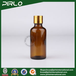 50ml Amber Essential Oil Glass Bottle with Gold Metal Screw on Cap pictures & photos