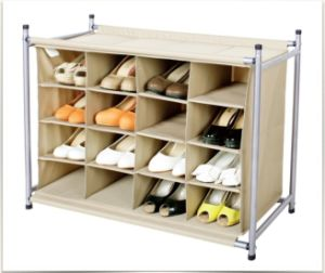 600d Polyester, Iron Tube 16-Pair Shoes Organizer pictures & photos