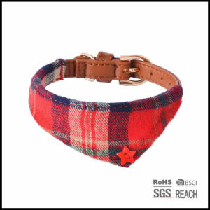 Customised True Leather Cute Pet Dog Cat Collar with Scarf pictures & photos