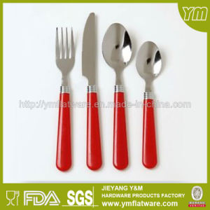 High Quality Colorful 24PCS Cutlery Set with Plastic Handle Low Price pictures & photos