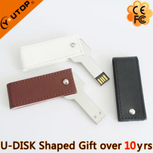 Swivel/Rotating Leather Key USB Flash Disk for Promotion Gift (YT-5117) pictures & photos